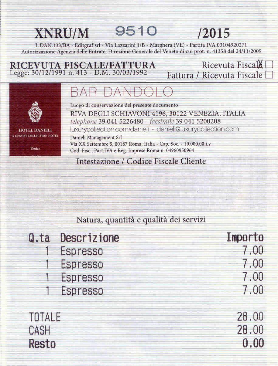 Hotel Danieli receipt